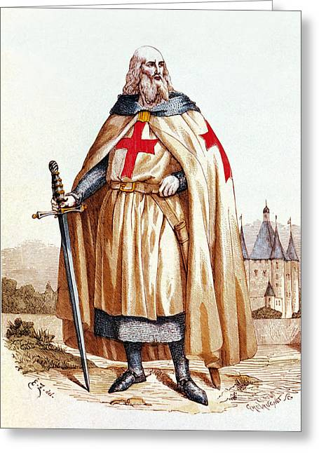 Jacques De Molay, Knights Templar Grand Greeting Card by Science Source