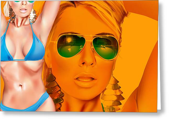 Greeting Card featuring the digital art Jacqui by Brian Gibbs