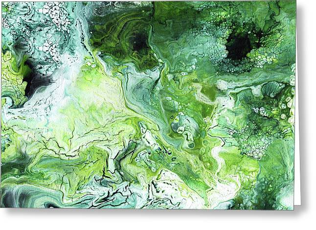 Jade- Abstract Art By Linda Woods Greeting Card