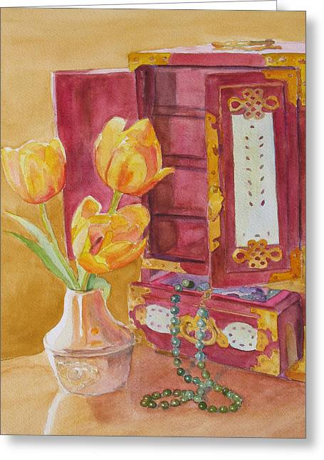 Floral Still Life Greeting Cards - Jade and Tulips II Greeting Card by Jenny Armitage