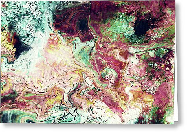 Jade Rhapsody - Abstract Art By Linda Woods Greeting Card