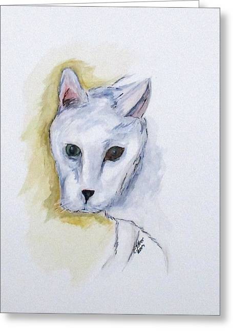 Greeting Card featuring the painting Jade The Cat by Clyde J Kell