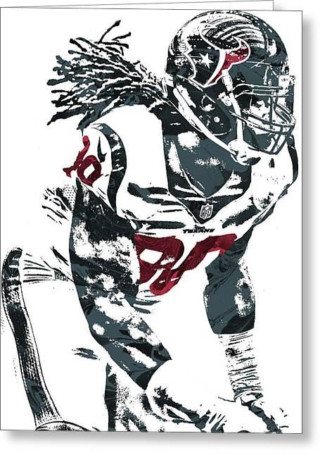 Greeting Card featuring the mixed media Jadeveon Clowney Houston Texans Pixel Art by Joe Hamilton