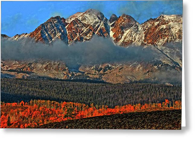 Greeting Card featuring the photograph Jagged Peaks Fall by Scott Mahon