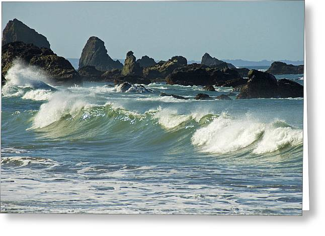 Jagged Rocks And Breaking Waves Greeting Card by Stephen Sharnoff
