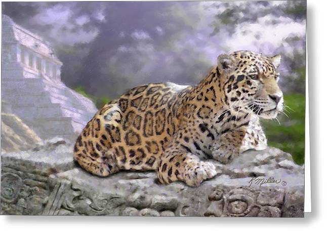 Jaguar And Mayan Temple Greeting Card by Kathie Miller