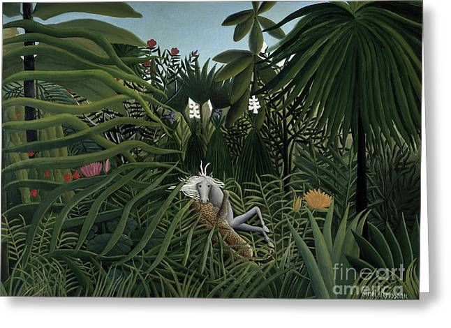 Jaguar Attacking A Horse, 1910 Greeting Card by Henri Rousseau