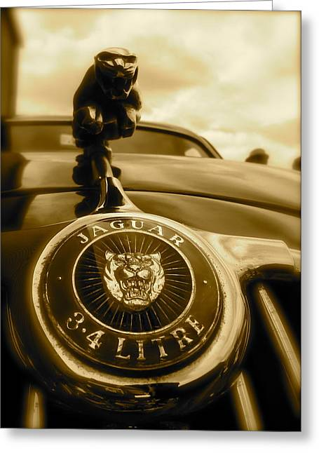Jaguar Car Mascot Greeting Card by John Colley