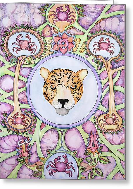 Jaguar, Crabs And Flowers Greeting Card by Jose Luis Olivares