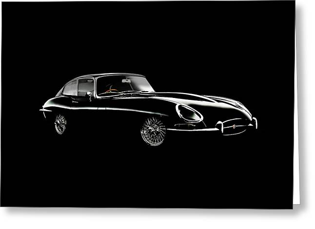 Jaguar E Type Black Edition Greeting Card by Mark Rogan
