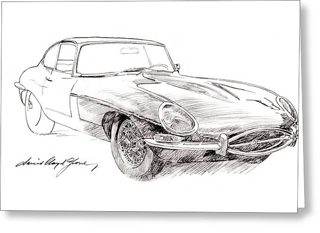 Jaguar E-type Greeting Card by David Lloyd Glover