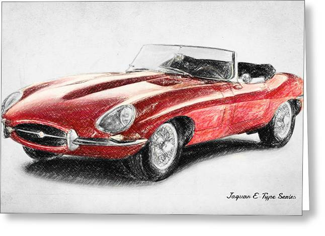 Jaguar E-type Greeting Card by Taylan Apukovska
