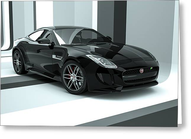 Jaguar F-type - Black Retro Greeting Card