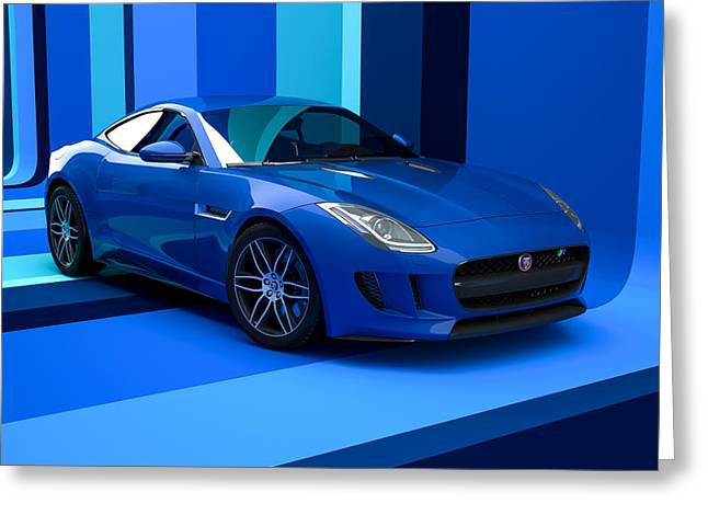 Jaguar F-type - Blue Retro Greeting Card