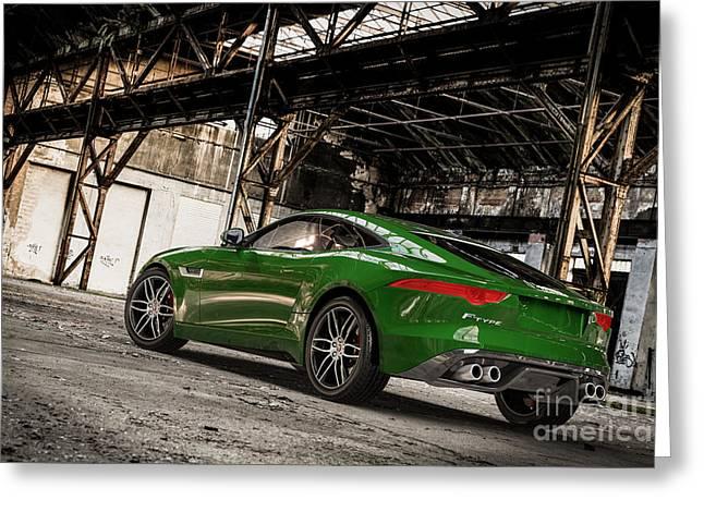 Jaguar F-type - British Racing Green - Rear View Greeting Card