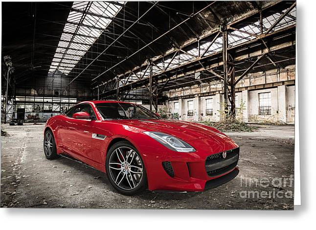 Jaguar F-type - Red - Front View Greeting Card