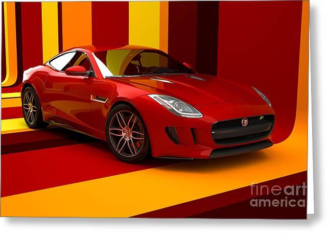 Jaguar F-type - Red Retro Greeting Card