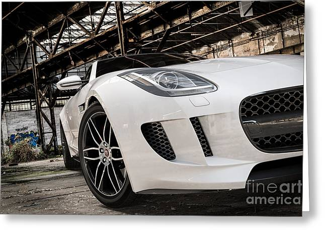 Jaguar F-type - White - Front Close-up Greeting Card