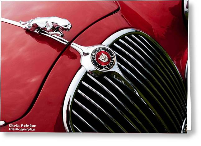 Jaguars Greeting Cards - Jaguar grille and mascot Greeting Card by Chris Pointer