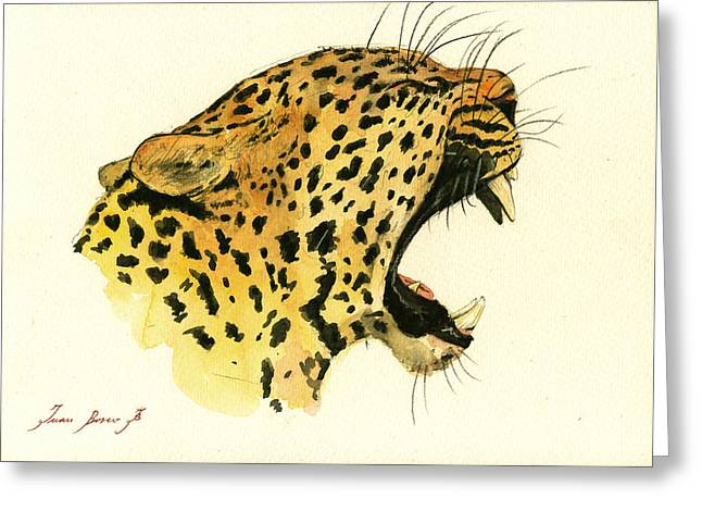 Jaguar Head Painting Watercolor Greeting Card by Juan  Bosco