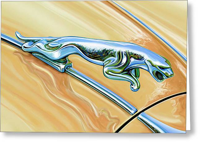 Jaguar Hood Cat Greeting Card by David Kyte