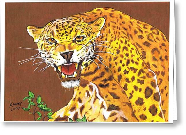 Jaguar Greeting Card by Jay Kinney