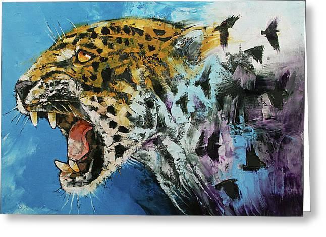 Jaguar Greeting Card by Michael Creese