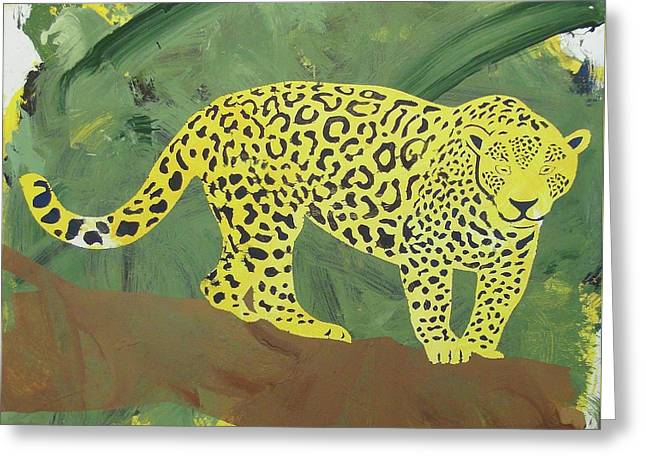 Greeting Card featuring the painting Jaguar by Candace Shrope