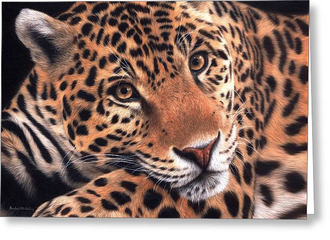 Jaguar Painting Greeting Card by Rachel Stribbling