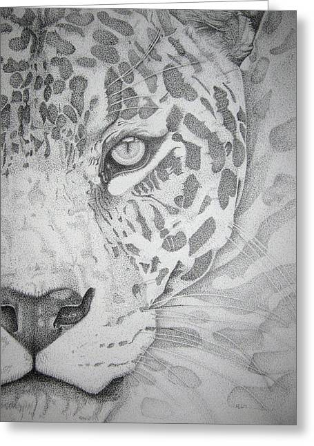 Jaguar Pointillism Greeting Card by Mayhem Mediums