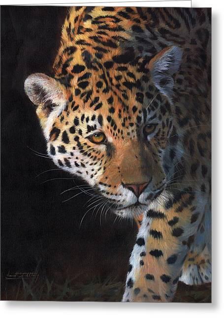 Jaguar Portrait Greeting Card by David Stribbling