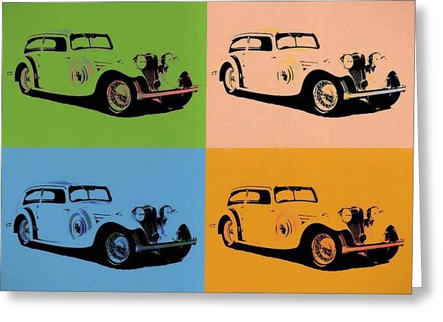 Jaguar Ss1 Pop Art Greeting Card