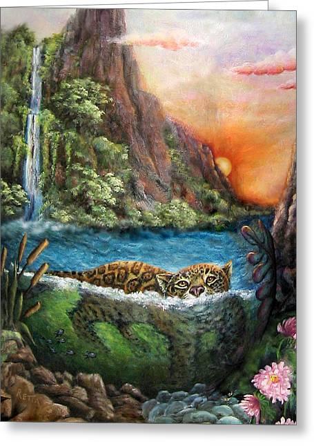 Jaguar Sunset  Greeting Card
