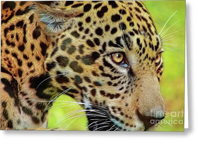 Jaguar Up Very Close Greeting Card