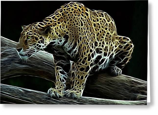 Jaguar Watching Greeting Card by Sandy Keeton