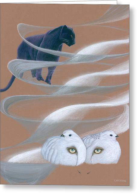 Jaguar With Ptarmigans Greeting Card by Robin Aisha Landsong