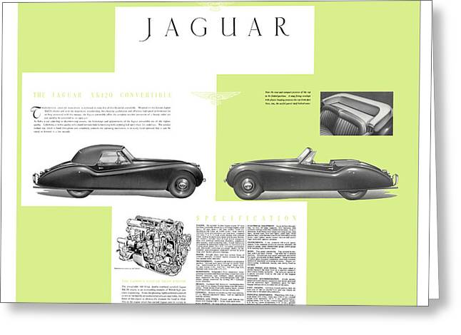 Jaguar Xk 120 Convertible Six Cylinder 160bph Engine Double Overhed Camshaft Classic Car Greeting Card