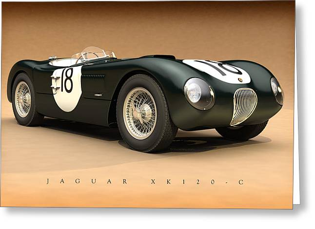 Moss Man Greeting Cards - Jaguar XK120-C Greeting Card by Pete Chadwell