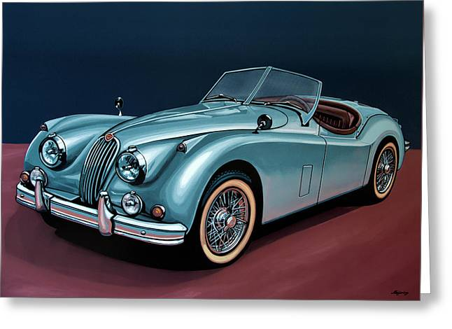 Jaguar Xk140 1954 Painting Greeting Card