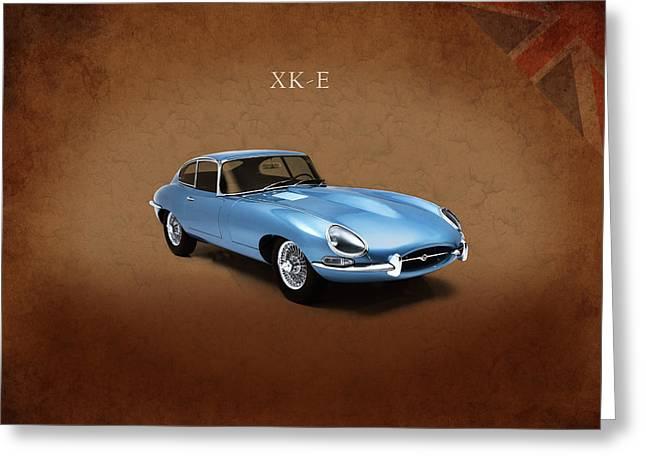 Jaguar Xke Greeting Card by Mark Rogan
