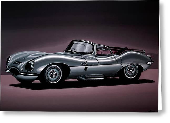 Jaguar Xkss 1957 Painting Greeting Card