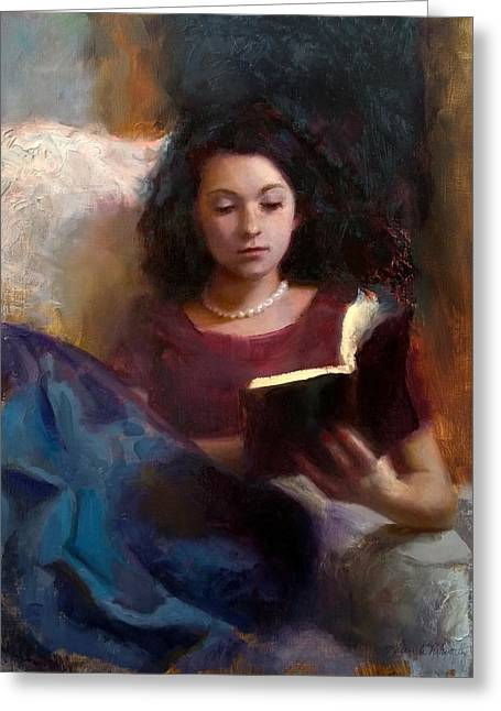 Greeting Card featuring the painting Jaidyn Reading A Book 1 - Portrait Of Young Woman by Karen Whitworth