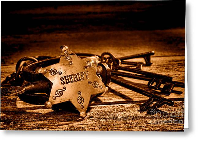 Jailer Tools - Sepia Greeting Card by Olivier Le Queinec