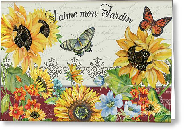 Greeting Card featuring the painting Jaime Mon Jardin-jp3990 by Jean Plout