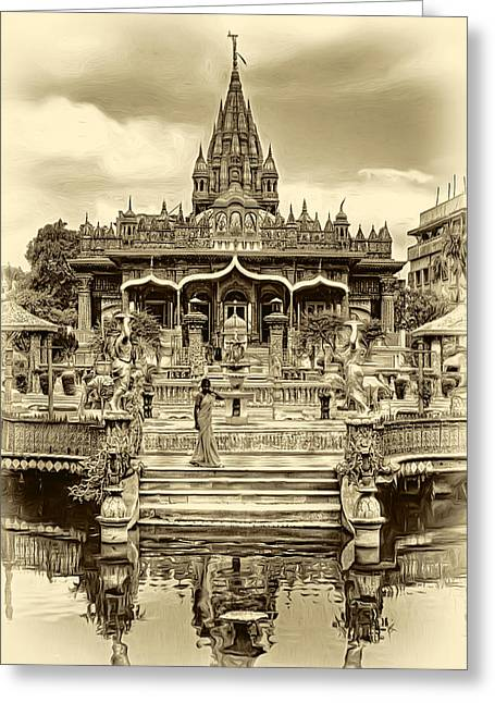 Jain Temple - Sepia Greeting Card by Steve Harrington