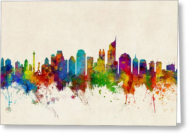 Jakarta Skyline Indonesia Bombay Greeting Card by Michael Tompsett