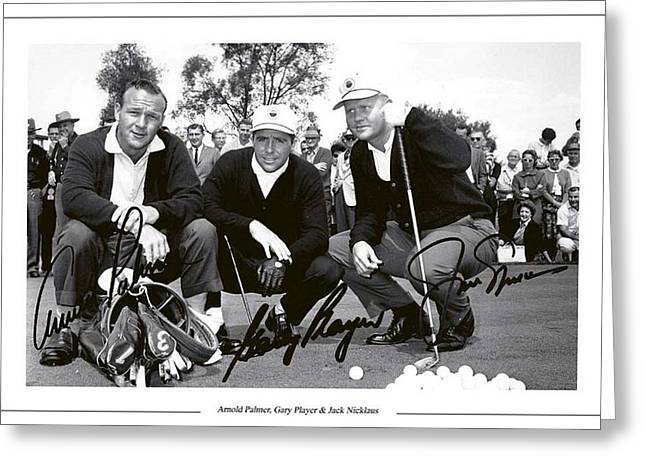 Jakc Nicklaus, Gary Player Amd Arnold Palmer 1962 Masters Greeting Card by Peter Nowell