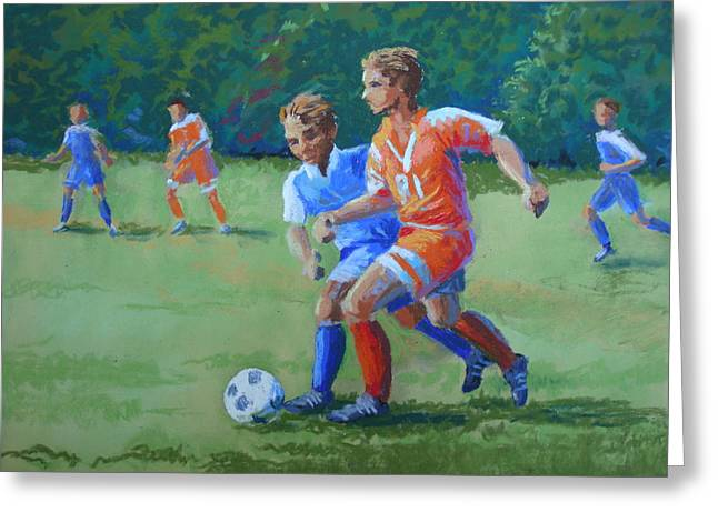 Actions Pastels Greeting Cards - Jakes Soccer Game Greeting Card by Christy Vitale