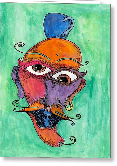 Jalepeno Face Greeting Card by Jessica Kauffman