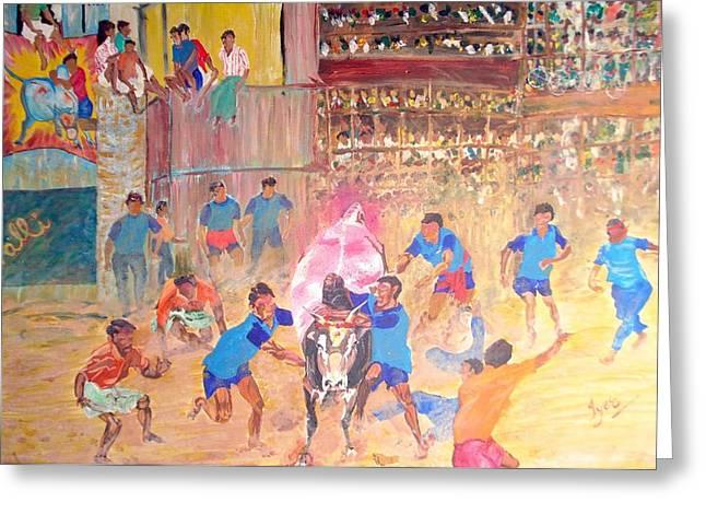 Jallikattu- The Bull Fight Greeting Card by Narayan Iyer